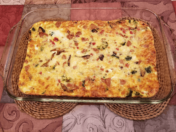 mozzarella cheese, sweet Italian chicken sausage, Italian sausage, cooking spray, olive oil, shallots, shiitake mushrooms, roasted red peppers, broccoli, eggs, egg whites, fat-free milk, skim milk, Parmesan cheese, Kosher salt, black pepper