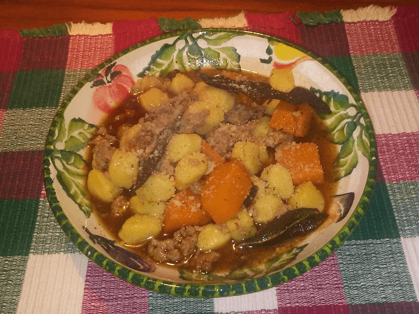 butternut squash, olive oil, Italian sausage, sweet sausage, butter, sage, garlic, salt, black pepper, nutmeg, white wine, chicken broth, chicken stock, fresh gnocchi, Parmesan cheese