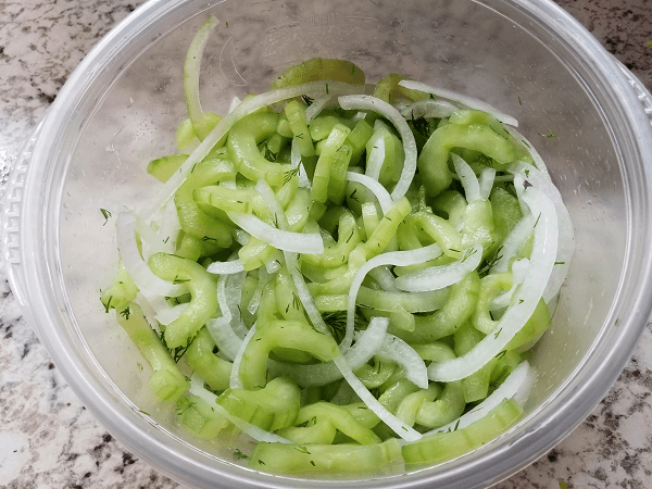 cucumbers, salt, white onion, white wine vinegar, sugar, dill